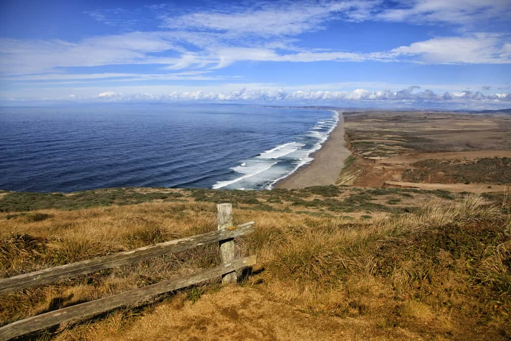 Waves crashing at the Point Reyes National seashore in Californi