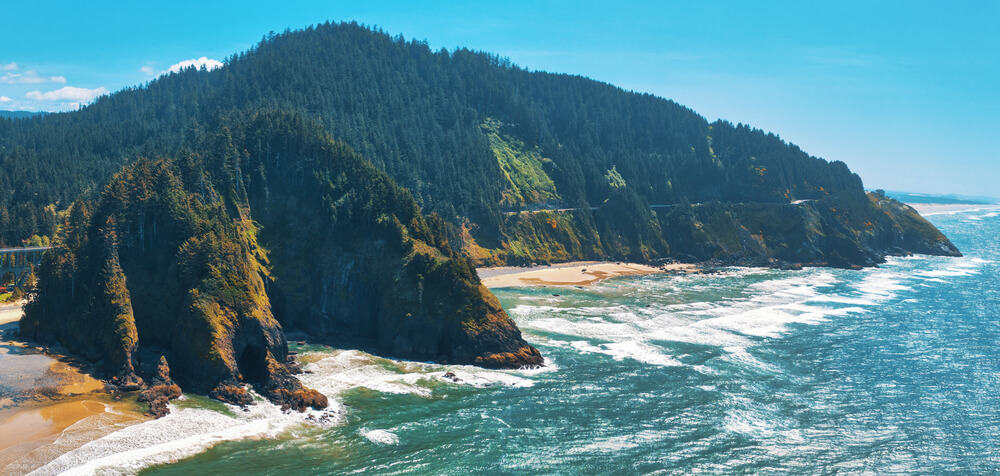 Aerial of Pacific Ocean in Oregon, Highway 101