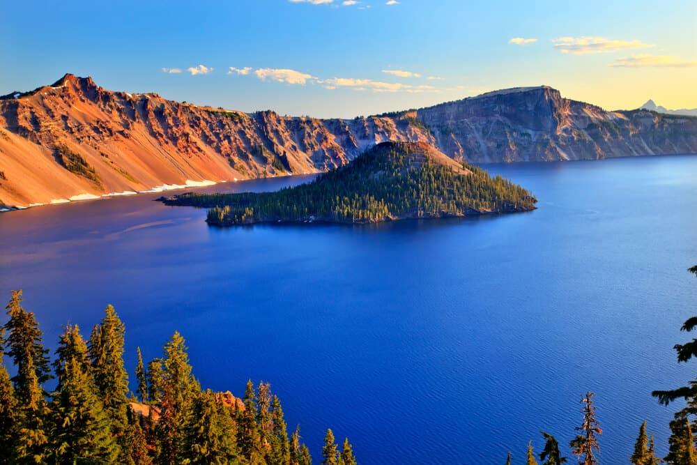 Crater Lake Reflection Blue Lake Morning Oregon
