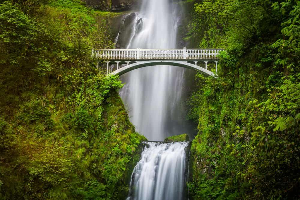 Multnomah Falls and bridge, in the Columbia River Gorge