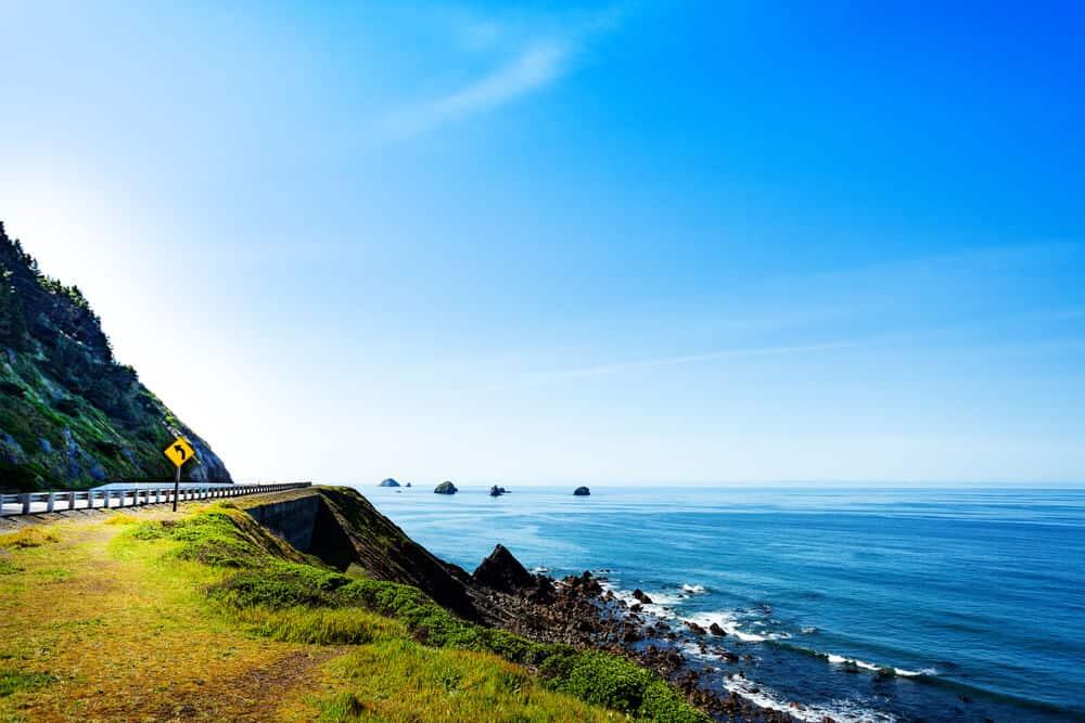 Oregon coast highway 101 road and ocean view