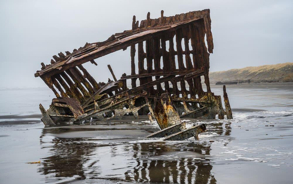 Shipwreck at Fort Stevens State Park in Astoria, Oregon