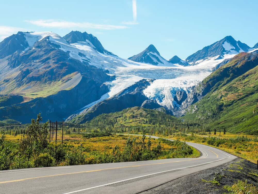 A view of Worthington Glacier from the road in Alaska