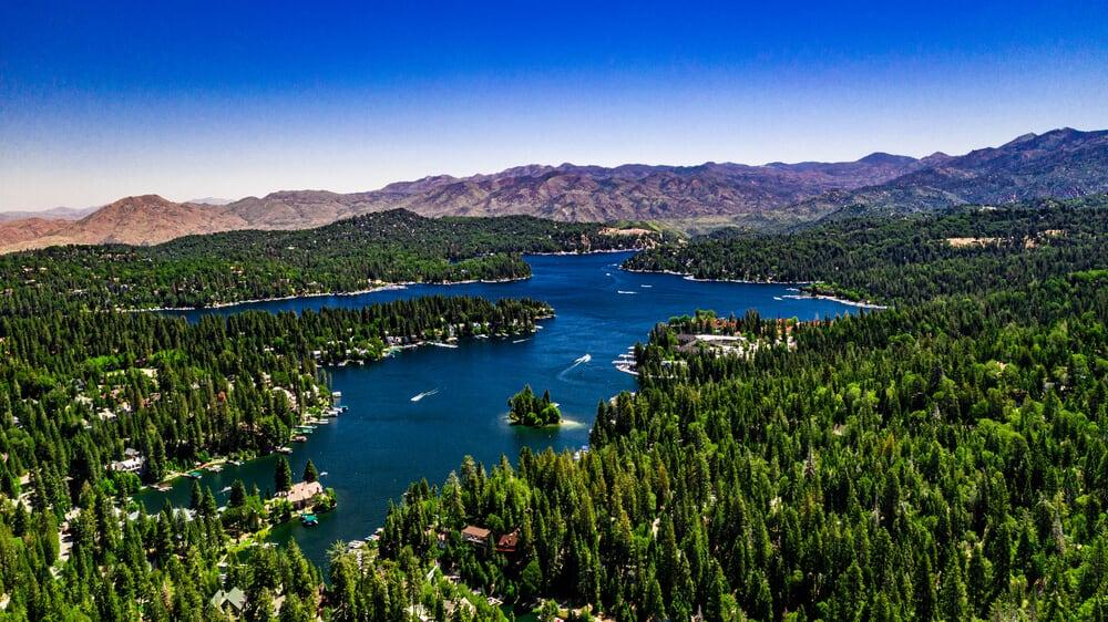 Aerial drone shot of Lake Arrowhead