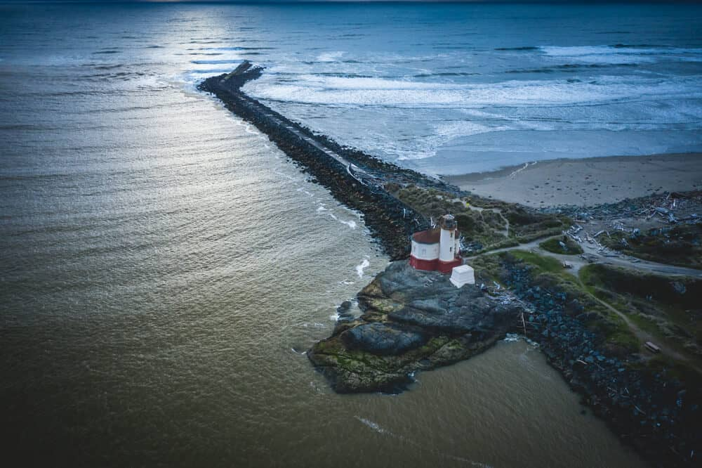 Aerial shot of Coquille River Lighthouse in Bandon
