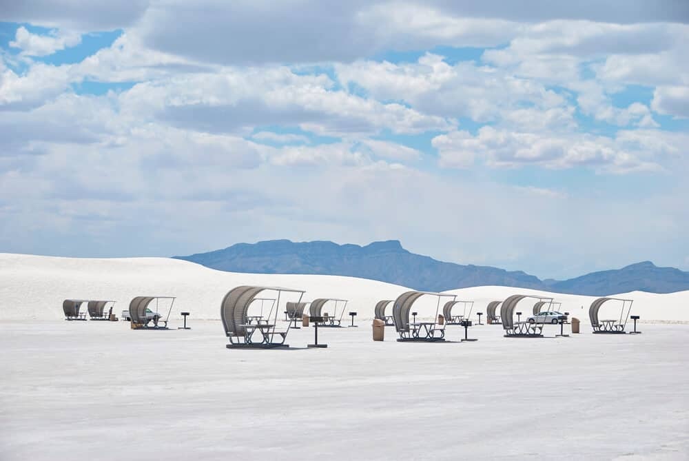 Barbecue and rest area at White Sands National Park, New Mexico