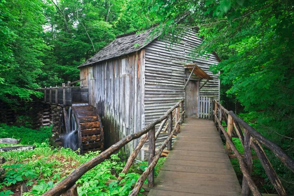 Grist mill with a waterwheel at the Visitor Center, Smoky Mountains  National Park