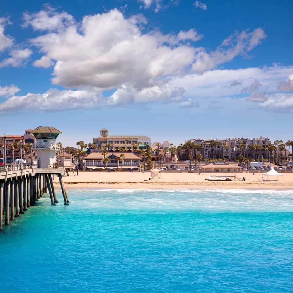 Huntington beach pier with lifeguard tower