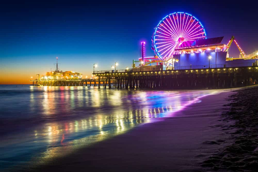 The Santa Monica Pier at night, in Santa Monica, California