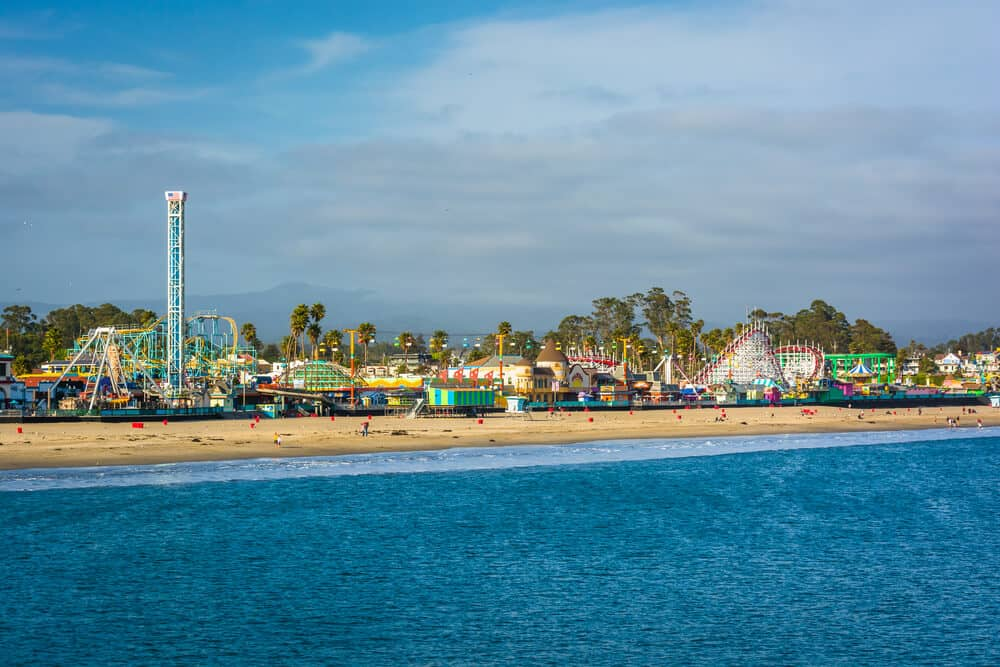 View of the rides on the Santa Cruz Boardwalk